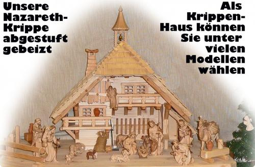 Nazareth-Krippe (Name bezieht sich auf die Krippenfiguren!) in Ahornholz abgestuft gebeizt
