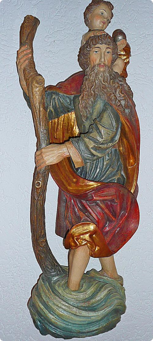 Christophorus bzw. Christopherus 90cm Einzelstücke in Goldfassung antike Art