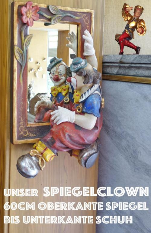 Spiegel mit Clown 60cm Ahornholz handbemalt