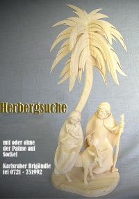 Herbergsuche, Maria Josef und Esel, mit oder ohne Palme auf Sockel