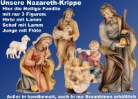 NazarethKrippe Gruppenbild mit Hirte, Flötenjunge und Schaf mit Lamm