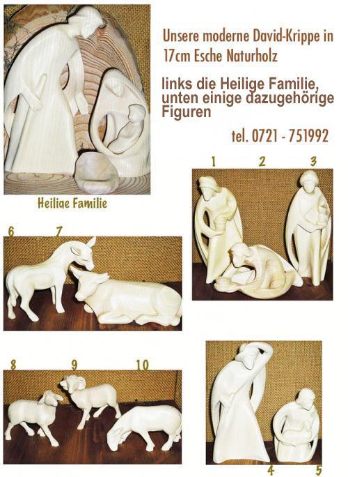 Davidkrippe Hl. Familie und einige dazugehörige Figuren