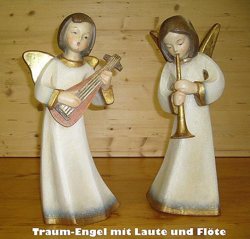 Traum-Engel - Naturholz handbemalt und Blattgoldfassung 40cm