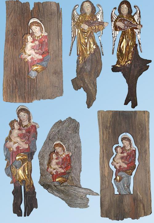 Engel und Madonnen aus altem Fundholz