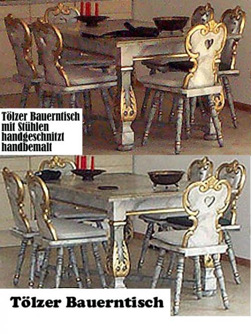 Tölzer Bauerntisch mit Stühlen handgeschnitzt handbemalt